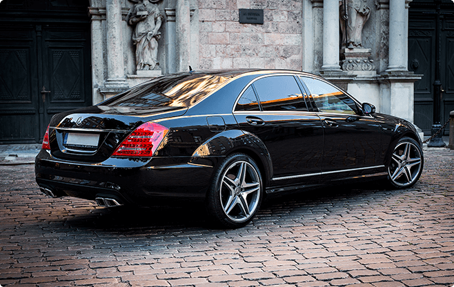 Riga Luxury Sedans - Mercedes Benz S Class Long Black - Side View