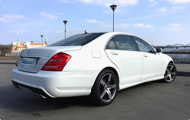 Riga Luxury Sedans - Mercedes Benz S Class White - Back View