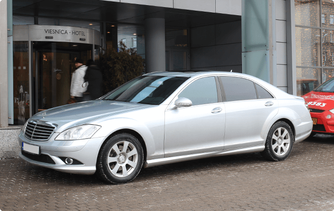Riga Luxury Sedans - Mercedes Benz S Class Silver - Front View
