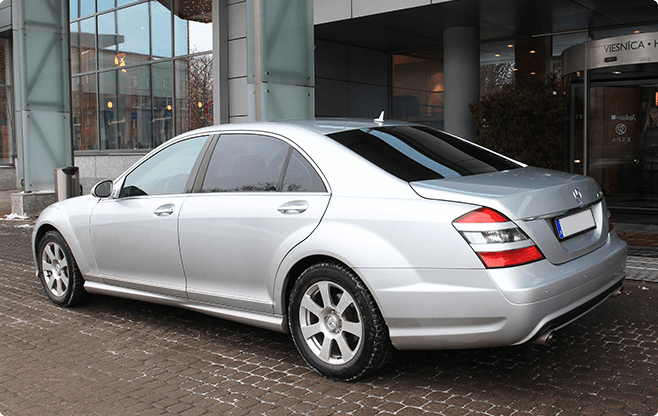 Riga Luxury Sedans - Mercedes Benz S Class Silver - Back View